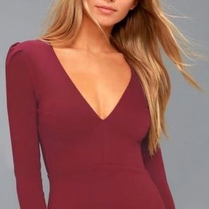 Lulu's Wine Bodycon Dress Red V-neck Sleeves S